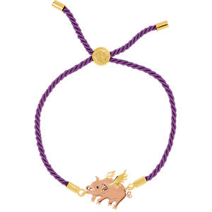18K Yellow & Rose Vermeil Flying Pig Purple Satin 8