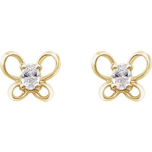 Cubic Zirconia Butterfly Youth Earrings