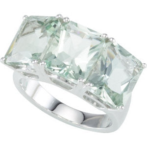Sterling Silver Quartz 3 Stone Ring
