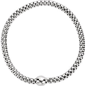 Sterling Silver White Rhodium Plated 4.3mm Woven Stretch Bracelet