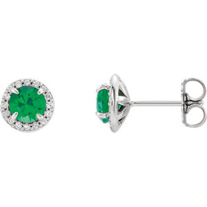 14K White 5mm Round Emerald & 1/6 CTW Diamond Earrings