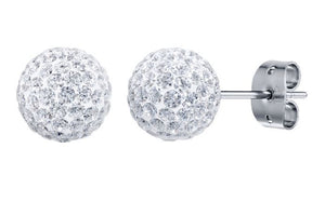 Bonbon Titanium and White Crystal Stud Earrings