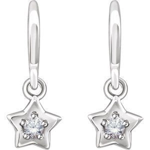 Cubic Zirconia Star Youth Earrings