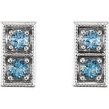 14K Aquamarine Two-Stone Earrings