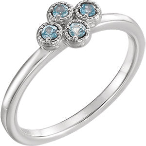 Genuine Aquamarine Cluster Ring