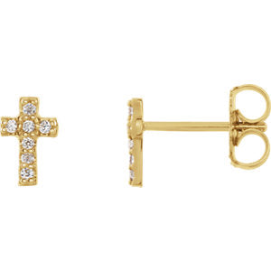 14K Yellow .06 CTW Diamond Cross Earrings