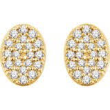 14K 1/6 CTW Diamond Oval Cluster Earrings