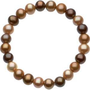 "8-9mm Freshwater Cultured Dyed Chocolate Pearl 7"" Stretch Bracelet"