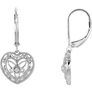 Sterling Silver  Diamond Lever Back Earrings