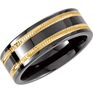 Ceramic & 14K Yellow 8mm Ceramic Couture® Flat Swiss Cut Band