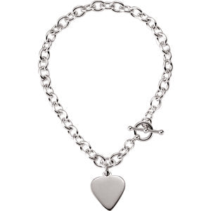 Cable Toggle Bracelet with Heart