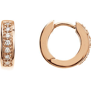 14K Rose 1/6 CTW Diamond Hoop Earrings