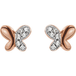 Diamond Butterfly Youth Earrings