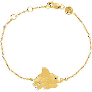 18K Yellow Vermeil Elephant 7.5