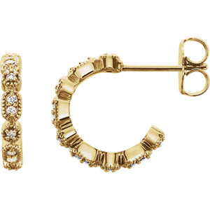 14K Yellow 1/8 CTW Diamond Granulated J-Hoop Earrings