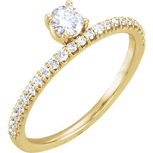 14K Yellow 4mm Round Forever One™ Moissanite & 1/5 CTW Diamond Stackable Ring