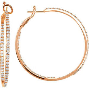 14K Rose 2 CTW Diamond Inside/Outside Hoops