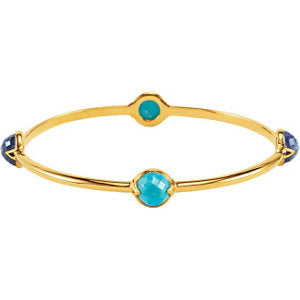 "18K Vermeil Turquoise & Kyanite Bangle 7.5"" Bracelet"