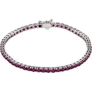 "14K White Lab-Grown Ruby Line 7.25"" Bracelet"