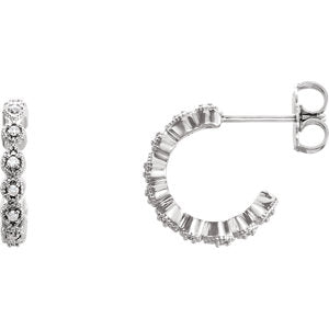 14K White 1/10 CTW Diamond J-Hoop Earring