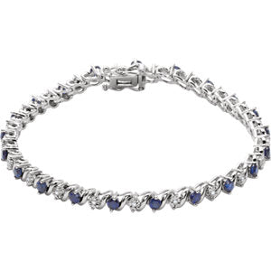 14K White Lab-Grown Blue Sapphire & 1/10 CTW Diamond Line 7