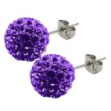 Bonbon Titanium Purple Crystal Stud Earrings