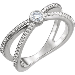 14K White 1/8 CTW Diamond Bezel Set Beaded Ring