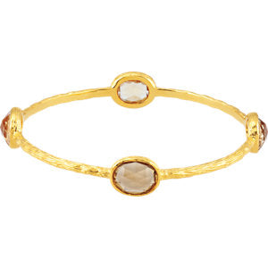 "14K Yellow Gold-Plated Sterling Silver Yellow Quartz 8"" Bangle Bracelet"