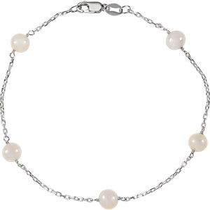 Sterling Silver Freshwater Cultured Pearl Station 7.5