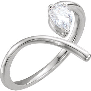 14K White 6x4mm Pear Forever One™ Moissanite Negative Space Ring