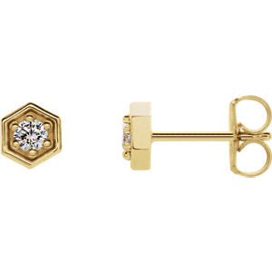 14K Yellow 1/8 CTW Diamond Hexagon Stud Earrings