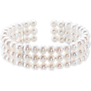 Sterling Silver Pearl 3 Row Bangle Bracelet