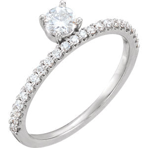 14K White 4mm Round Forever One™ Moissanite & 1/5 CTW Diamond Stackable Ring