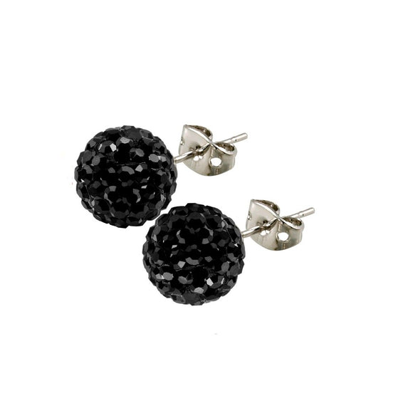 Bonbon Titanium Black Crystal Stud Earrings