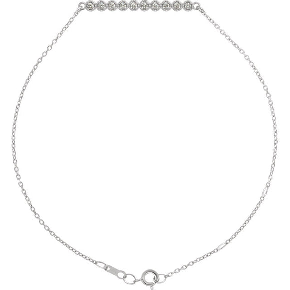 14k White Gold .07CTW Diamond Bar Necklace