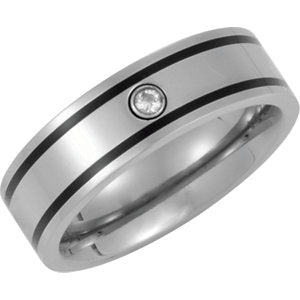 Titanium / Enamel / Diamond Band Size 10