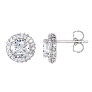 14K White 1 1/3 CTW Diamond Earrings