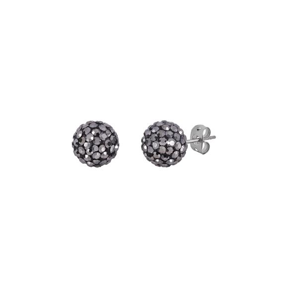 Bonbon Titanium Graphite Crystal Stud Earrings