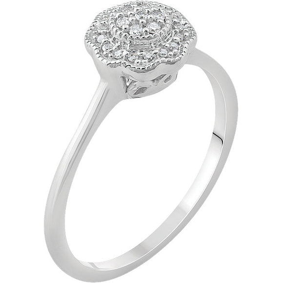 14k White Gold .08 CTW diamond Cluster Engagement Ring