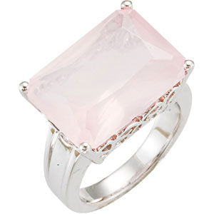 Sterling Silver Rose Quartz Scroll Design Ring