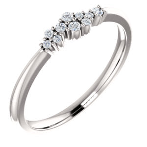 14K White 1/10 CTW Diamond Stackable Cluster Ring