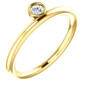 14K Yellow 3mm Round Forever One™ Moissanite Ring