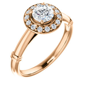 14K Rose 5mm Round Forever One™ Moissanite & 1/8 CTW Diamond Engagement Ring