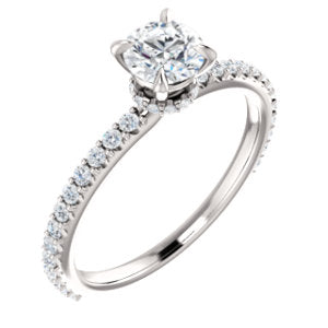 14K White 5mm Round Forever One™ Moissanite & 1/3 CTW Diamond Engagement Ring