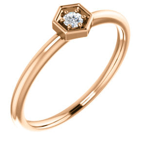 14K Rose 2.5mm Round Forever One™ Moissanite Ring