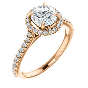 14K Rose 6.5mm Round Forever One™ Moissanite & 1/3 CTW Diamond Engagement Ring