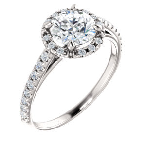 14K White 6.5mm Round Forever One™ Moissanite & 1/5 CTW Diamond Engagement Ring