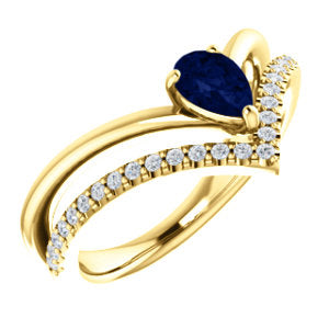 14K Yellow Blue Sapphire & 1/6 CTW Diamond Ring