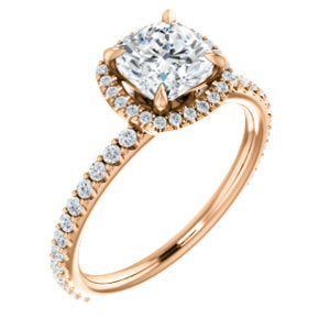 14K Rose 6mm Cushion Forever One™ Moissanite & 1/3 CTW Diamond Engagement Ring