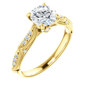 14K Yellow 6.5mm Round Forever One™ Moissanite & 1/10 CTW Diamond Engagement Ring